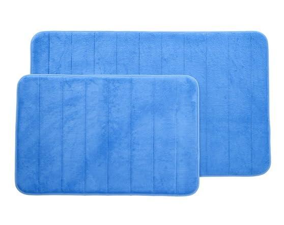 2 Piece Memory Foam Striped Bath Mat Set 5 Colors