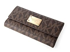Michael Kors Jet Set Checkbook Wallet, Brown PVC
