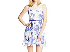 Sequin Hearts Jrs Illus Neckline FloralDress, Ivory/ Blue