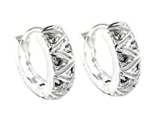 Sterling Silver Zigzag Simulated Diamond Huggie