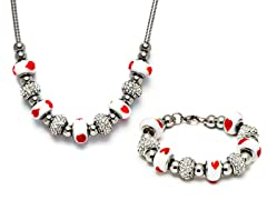 Stainless Steel White Mix Charm Set