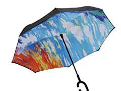 Reverse Opening Umbrella, Black Abstract