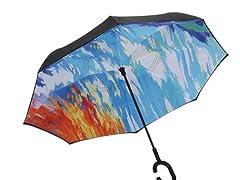 Reverse Opening Umbrella, Black Abstract