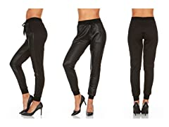 Women's Leather Jogger Pants With Pockets