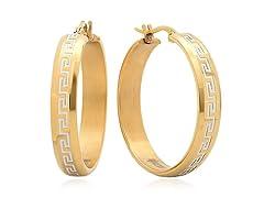 18kt Gold Plate Greek Key Accent Earring