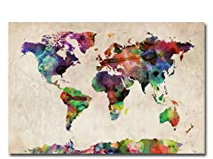 Urban Watercolor World Map 18x24 Canvas