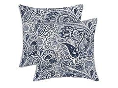 Paisley 17x17 Pillows - Blue - Set of 2