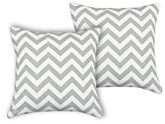 Zig Zag Ash 17x17 Pillow - Set of 2