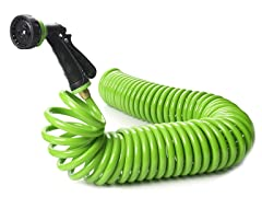 50 Ft Green Coil Garden Hose with Nozzle