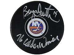 Bryan Trottier Islanders Signed Puck, 76 Calder Winner
