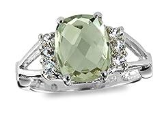 SS, Green Amethyst & White Topaz Ring