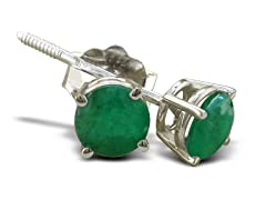 1/2ct Emerald Earrings in Sterling Silver