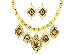 Gold-Plated Champagne Fancy Jewelry Set