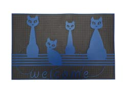 Baroque Series Cats Blue Door Mat