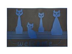 Baroque Series Cats Blue Door Mat, Blue