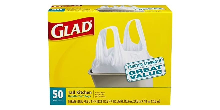 Glad Tall Kitchen Handle-Tie Trash Bags - 13 Gallon White Trash Bag - 50 Count | WOOT