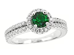 SS Dualband Micropave Green CZ Halo Ring
