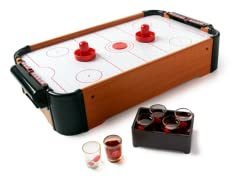 Tabletop Air Hockey with 6 Shot Glasses