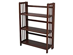 Folding 3 Tier Medium Bookcase - Walnut