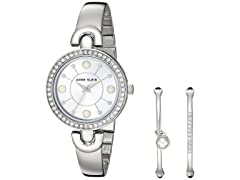 Anne Klein SilverTone Watch& 2Bangle Set