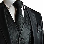 CKL Men's Paisley Vest, Neck Tie, & Pocket Square Set