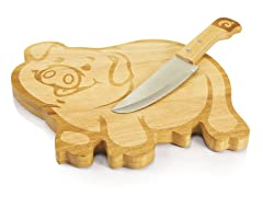 """Picnic Time 10"""" Piggy Cutting Board with Knife"""