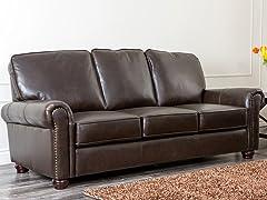 Berlin Nailhead Top-Grain Leather Sofa
