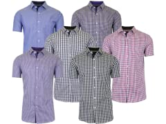 Mens 2PK SS Slim-Fit Casual Dress Shirts