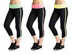 Women's Color Contrast Yoga Capri's (3-Pack)