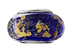 Blue & Yellow Marble Glass Bead