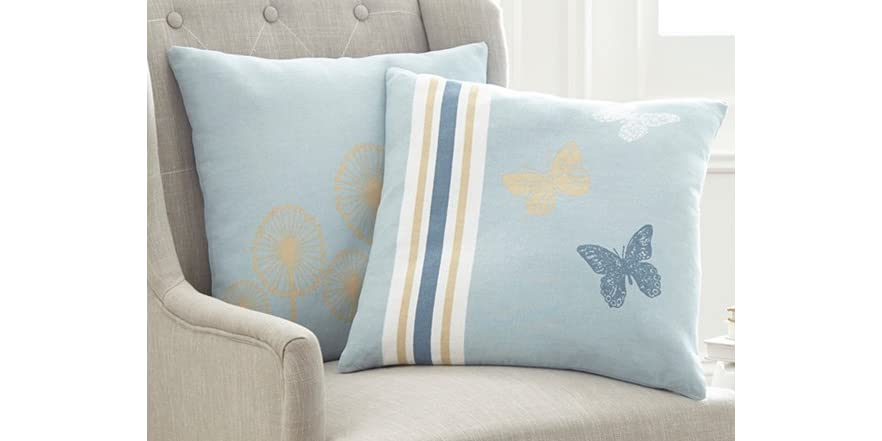 Newport Decorative Two Pack Pillows : 2-Pack 100% Cotton Decorative Pillows-French Nature Butterflies