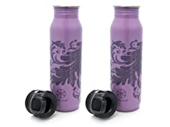 Filagree Stainless Steel Water Bottle 2-Pack