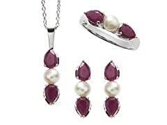 Sterling Silver, Ruby & Pearl Set