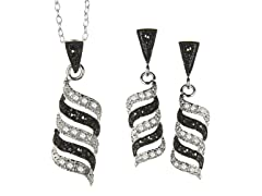 Black/White Marcasite Waves CZ Set