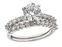 18kt WG Plated Sim Diamond Ring Set