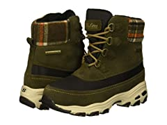 Skechers Women's D'Lites-Mid Hiker Lace Up Boot W Plaid Collar Snow