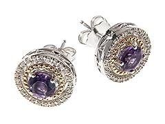 Silver & 14k Gold Amethyst Earrings