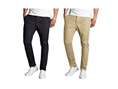 Mens 2PK Slim Fit Cotton Stretch Chinos