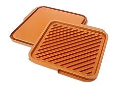 Non-Stick Reversible Double Grill wi/Ti-Cerama Coating