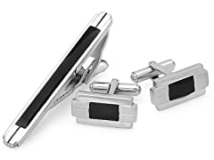 Stainless Steel Cufflink & Tiebar Set