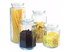 Glass Canister Set with Lid (Set of 4), Clear