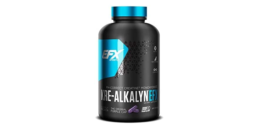 EFX Sports Kre-Alkalyn | PH-Correct Creatine Monohydrate | Multi-Patented Formula, Gain Strength, Build Muscle & Enhance Performance - 240 Capsules / 120 Servings | WOOT