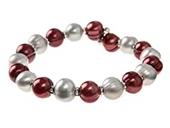 Cranberry & Grey Freshwater Pearl Bangle