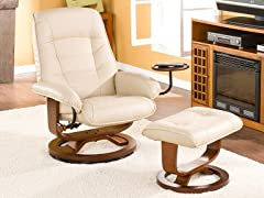 Bonded Leather Recliner & Ottoman-Taupe