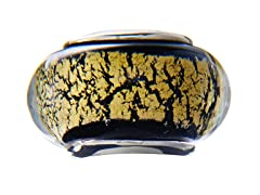 Black & Yellow Marble Glass Bead