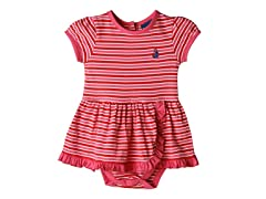 Knit Romper - Red & Pink Stripes (0M-9M)