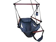 Sunnydaze Deluxe Hanging Hammock Air Chair with Pillow and Drink Holder