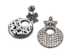 SS Otantic Round White CZ & Dyed Ruby Genuine Semi-Precious Gemstone Earrings
