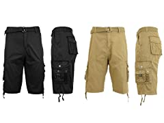 Classic Fit Distressed Cargo Short 2Pk