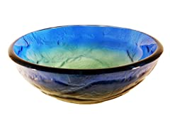 Glass Vessel Sink, Blue/Yellow/Green